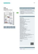 Product informatie SIEMENS koelkast inbouw KI31RVF30
