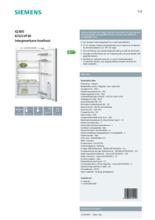 Product informatie SIEMENS koelkast inbouw KI32LVF30