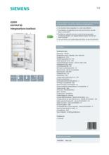 Product informatie SIEMENS koelkast inbouw KI41RVF30