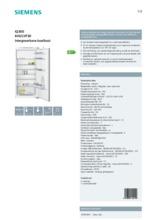Product informatie SIEMENS koelkast inbouw KI42LVF30