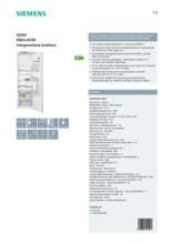 Product informatie SIEMENS koelkast inbouw KI82LAD30