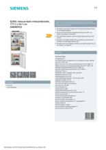 Product informatie SIEMENS koelkast inbouw KI86NVFE0
