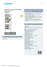 Product informatie SIEMENS koelkast inbouw KI86NVSE0