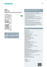 Product informatie SIEMENS koelkast inbouw KI86SAD30