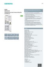 Product informatie SIEMENS koelkast inbouw KI86SGD30