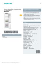 Product informatie SIEMENS koelkast inbouw KI87SAFE0