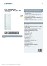 Product informatie SIEMENS koelkast wit KG36NVWER