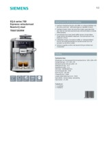 Product informatie SIEMENS koffiemachine rvs TE607203RW