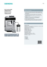 Product informatie SIEMENS koffiemachine rvs TE806201RW