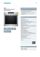 Product informatie SIEMENS oven inbouw rvs HB33GU530