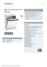 Product informatie SIEMENS vaatwasser SE23IW08TE