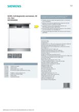 Product informatie SIEMENS vaatwasser inbouw SE53HS60AE