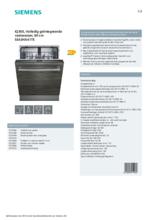 Product informatie SIEMENS vaatwasser inbouw SE63HX41TE