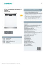 Product informatie SIEMENS vaatwasser inbouw SN53IS12TE