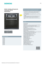 Product informatie SIEMENS vaatwasser inbouw SN63HX60CE