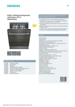 Product informatie SIEMENS vaatwasser inbouw SN65EX56CE