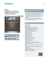 Product informatie SIEMENS vaatwasser inbouw SN68M058EU