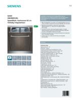 Product informatie SIEMENS vaatwasser inbouw SN69M052NL