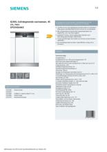 Product informatie SIEMENS vaatwasser inbouw SP53HS64KE