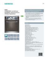 Product informatie SIEMENS vaatwasser inbouw SX68M058EU