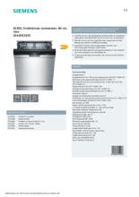 Product informatie SIEMENS vaatwasser onderbouw SE43HS36TE