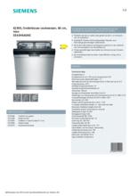 Product informatie SIEMENS vaatwasser onderbouw SE43HS60AE