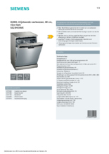 Product informatie SIEMENS vaatwasser rvs-look SE23HI36VE