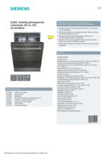 Product informatie SIEMENS vaatwasser verhoogd inbouw SL73HX60CE