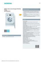Product informatie SIEMENS was-droogcombinatie inbouw WK14D542EU