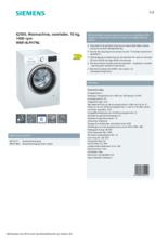 Product informatie SIEMENS wasmachine WM14LPH7NL