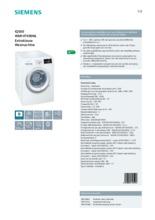 Product informatie SIEMENS wasmachine WM14T490NL