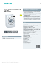 Product informatie SIEMENS wasmachine WM14US90NL
