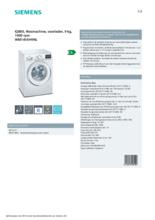 Product informatie SIEMENS wasmachine WM14VEH9NL