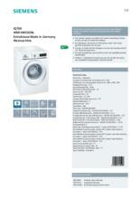 Product informatie SIEMENS wasmachine WM14W592NL