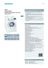 Product informatie SIEMENS wasmachine WM16W692NL