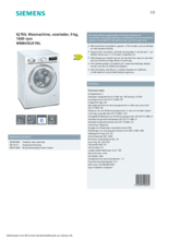 Product informatie SIEMENS wasmachine WM6HXL91NL