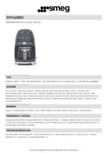 Product informatie SMEG koffiemachine lei grijs DCF02GREU