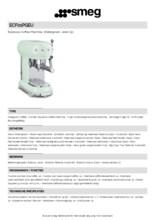 Product informatie SMEG koffiemachine watergroen ECF01PGEU