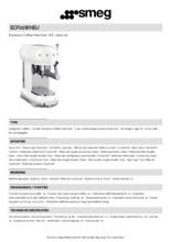 Product informatie SMEG koffiemachine watergroen ECF01WHEU