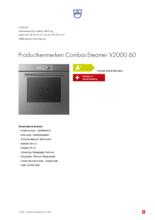 Product informatie V-ZUG combi-stoomoven inbouw CombairSteamer V2000 60 platinum