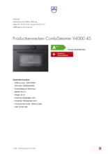 Product informatie V-ZUG combi-stoomoven inbouw CombiSteamer V4000 45 zwart glas