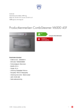 Product informatie V-ZUG combi-stoomoven inbouw CombiSteamer V6000 45F platinum