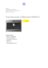 Product informatie V-ZUG koffiemachine inbouw CoffeeCenter V6000 45 platinum