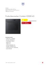 Product informatie V-ZUG oven inbouw Combair V2000 45 zwart glas