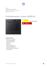 Product informatie V-ZUG oven inbouw Combair V2000 60 zwart glas