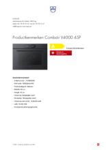 Product informatie V-ZUG oven inbouw Combair V4000 45P zwart glas