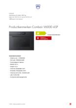 Product informatie V-ZUG oven inbouw Combair V6000 45P zwart glas