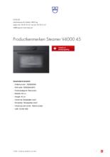Product informatie V-ZUG stoomoven inbouw Steamer V4000 45 zwart glas