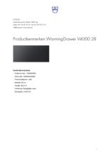 Product informatie V-ZUG warmhoudlade inbouw WarmingDrawer V4000 28 zwart glas
