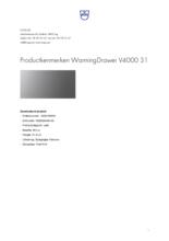 Product informatie V-ZUG warmhoudlade inbouw WarmingDrawer V4000 31 platinum